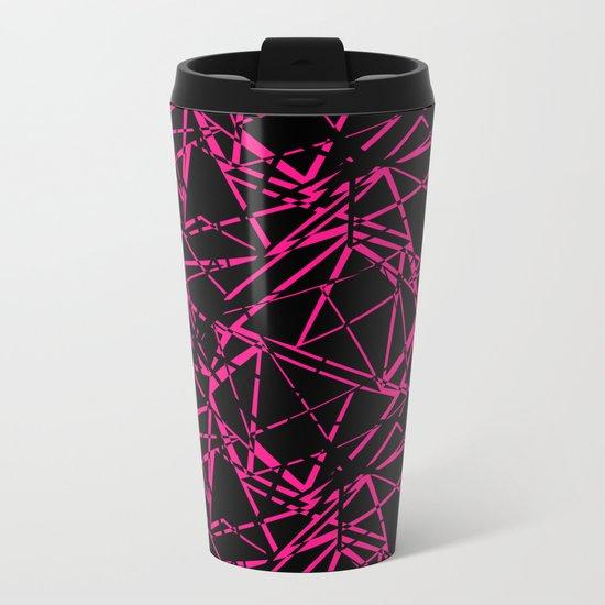 Abstract geometric black and Burgundy pattern . Metal Travel Mug
