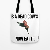 vegetarian Tote Bags featuring Vegetarian Support by Barbara Baron