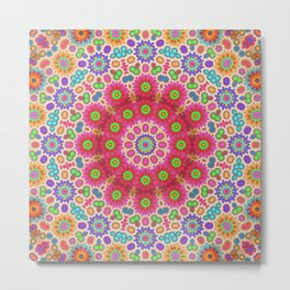 Brightly coloured kaleidoscope of abstract spring flowers Metal Print