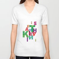 typo V-neck T-shirts featuring typo by nuage rouge