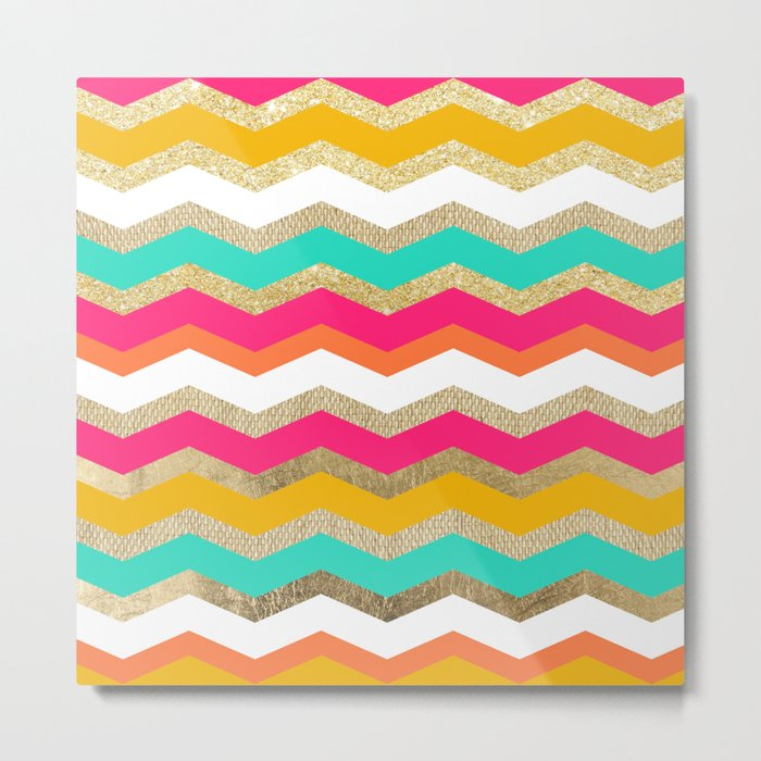 retro boho orange gold burlap pink turquoise geometric chevron pattern Metal Print