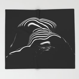 0686-AR BW Contemporary Art Nude Large Woman BBW Graceful and Strong Throw Blanket