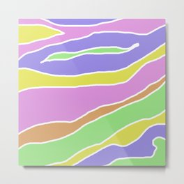 Pastel Current - Pink, blue, yellow and green pastel abstract painting Metal Print