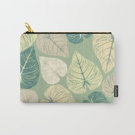 Pattern with stylish leaves on green background Carry-All Pouch