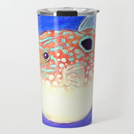 Blue Spotted Orange Toby Puffer Travel Mug