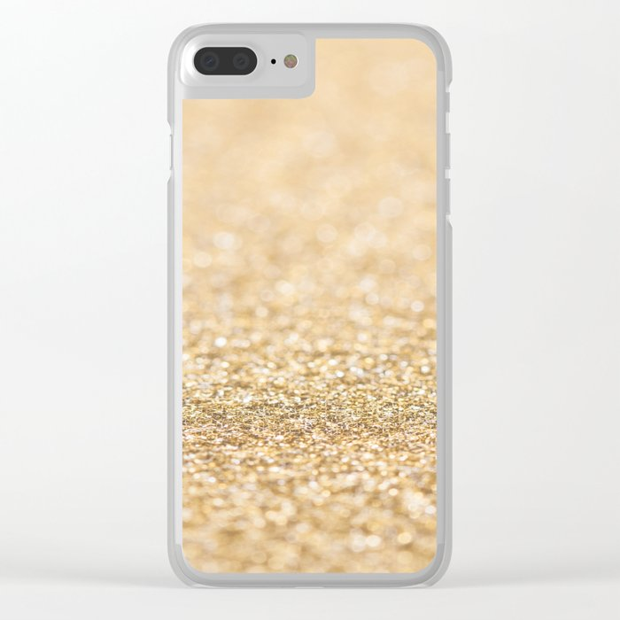 Beautiful champagne gold glitter sparkles Clear iPhone Case