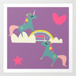 unicorn and rainbow purple Art Print