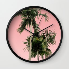 Palm Trees on Pink Wall Wall Clock