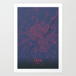 Caen, France - Neon Art Print