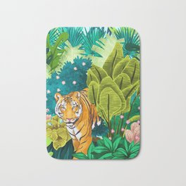 Jungle Tiger Painting, Tropical Nature Palms Wildlife Animals Cats Illustration Bath Mat