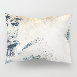Sunset [1]: a bright, colorful abstract piece in blue, gold, and white by Alyssa Hamilton Art Pillow Sham