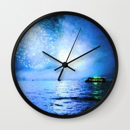 blue fire Wall Clock