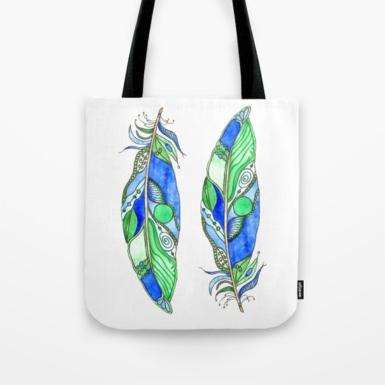 Bohemian Spirit Feathers - Blue & Green Tote Bag