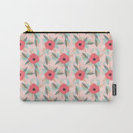 Poppies pink pastel red florals flowers pattern boho dorm college trendy garden plants poppy flower Carry-All Pouch