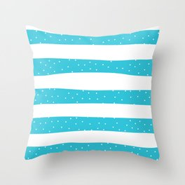 Christmas Simple seamless pattern Snow confetti on White and Scuba Blue Stripes Background Throw Pillow