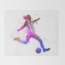 Girl playing soccer football player silhouette Throw Blanket