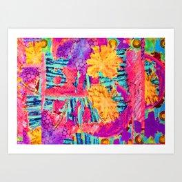 floral collagraph print Art Print