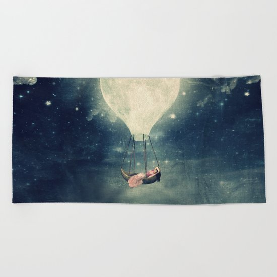 Moon Reverie over Paris Beach Towel