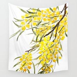 Godlen wattle flower watercolor Wall Tapestry