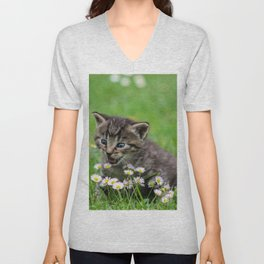 Kitty looking at flowers Unisex V-Neck