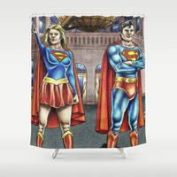supergirl Shower Curtains featuring The Daily Planet by Bungle