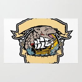 Angry Wolf Pirate Ship Banner Retro Rug