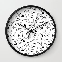 Autumn Leaves - Black and white Wall Clock