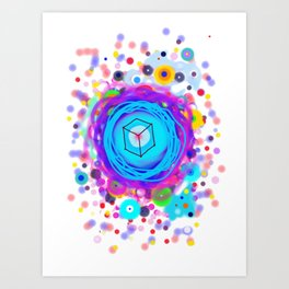 Planet cube in Space Art Print