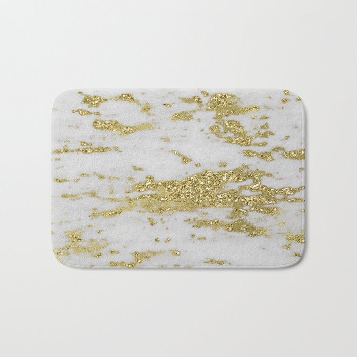 Marble - Glittery Gold Marble on White Design Bath Mat