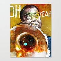 louis armstrong Canvas Prints featuring Louis Armstrong by Ed Pires
