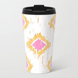 Simple, Painterly Ikat With Pink, Light and Dark Orange Metal Travel Mug