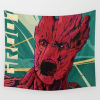 guardians of the galaxy Wall Tapestries featuring Groot Guardians of the galaxy by W.B.