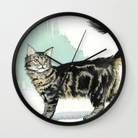 maine Wall Clocks featuring Maine Coon by Priscilla George