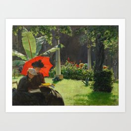 Charles Courtney Curran - Afternoon in the Cluny Garden, Paris Art Print
