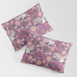 Cranes with chrysanthemums and pink magnolia on purple background Pillow Sham