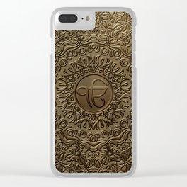 Decorative Ek Onkar / Ik Onkar  embossed on gold Clear iPhone Case