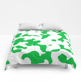 Large Spots - White and Dark Pastel Green Comforters