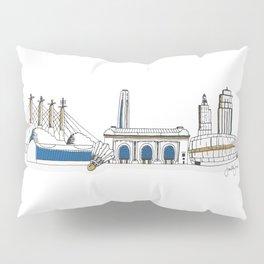 Kansas City Skyline Illustration in KC Royals Colors Pillow Sham