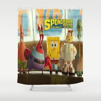spongebob Shower Curtains featuring spongebob squarepants,cartoon,patrick,Squidward,sandy,Mr. Krabs,movie, by rosita