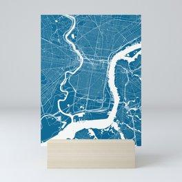 Philadelphia, PA, City Map - Blue Mini Art Print