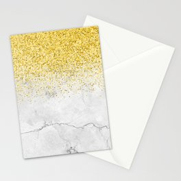 Gold Glitter and Grey Marble texture Stationery Cards