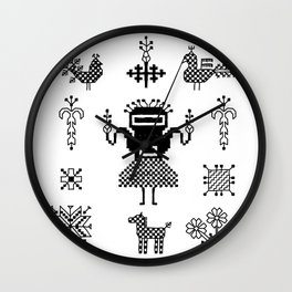folk embroidery, Collection of flowers, birds, peacocks, horse, man, geometric ornaments, symbols e Wall Clock