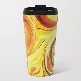 Golden liquid in abstract forms Travel Mug