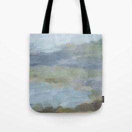 Diptych II - Sky Gray Blue Sage Green Abstract Wall Art, Painting Art, Lake Nature Print Portrait Tote Bag