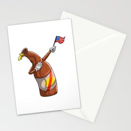 Womens US Flag Dabbing Beer Bottle  4th Of July Funny America Gift V-Neck Stationery Cards