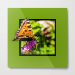 Butterly on the flower 3D pop out of frame effect Metal Print