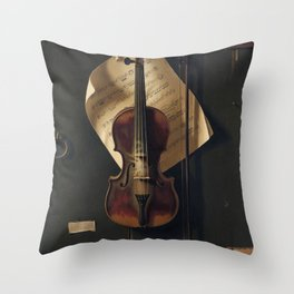 Still Life with Violin by William Harnett Throw Pillow