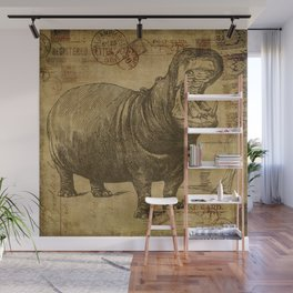 Vintage retro Hippo wildlife animal africa Wall Mural