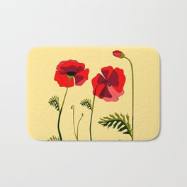 Adorable Red Poppies Unfold Bath Mat