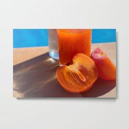 summer dream, fresh persimmon fruit by the pool Metal Print